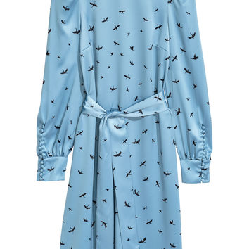 Patterned dress - Light blue/Birds - Ladies | H&M GB