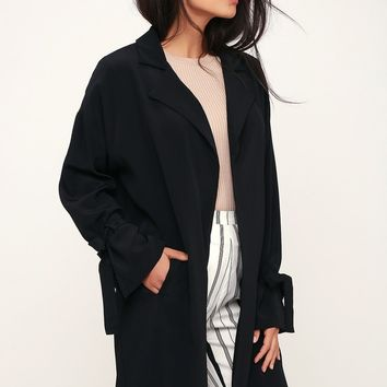 Beloved Black Tying Cuff Jacket