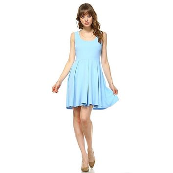 Crystal Fit/Flair Skater Dress North Carolina Baby Blue Short Scoop Neck