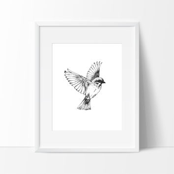 Minimalist Flying Bird in Air, Wall Decor Ideas