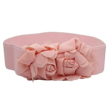 DCCKJG2 2016 Elegant  Women Belts Luxury Brand kemerler  Fashion Double Rose Flower Buckle Elastic Waist Belt  Dress Belt &P1