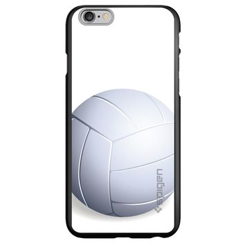 DistinctInk® Spigen ThinFit Case for Apple iPhone or Samsung Galaxy - White Volleyball