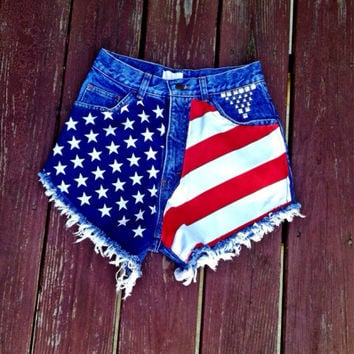 SALE: Studded American Flag High Waist Denim Shorts