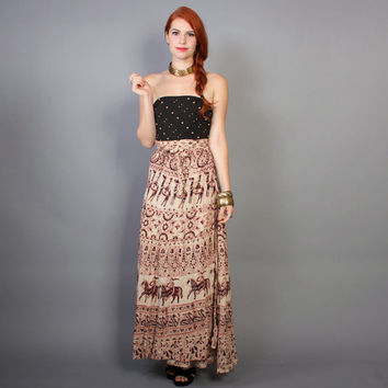 70s Indian WRAP SKIRT / Ethnic Batik ANIMALS Novelty Print Maxi, xs-m