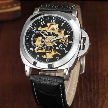 vintage leather automatic mechanical watch for business men 2