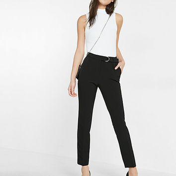 belted cropped slim ankle pant