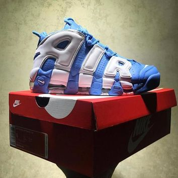 Best Online Sale Nike Air More Uptempo Qs Retro Sport Baskerball Blue White Sneaker 21948-401
