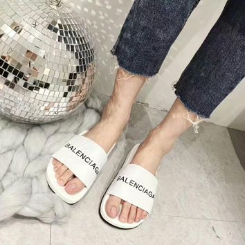 """Balenciaga"" Summer Women All-match Fashion Letter Genuine Cow Leather Slippers Home Casual Flat Shoes Sandals"