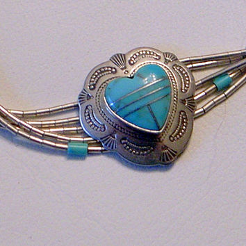 Vintage Navajo or Zuni Love Bracelet - Inlaid Turquoise Heart - Sterling Silver - 5 Strand - 6 Inch Wrist -December Birthstone