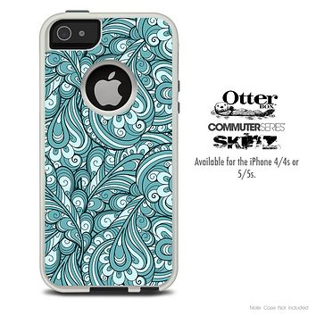 The Abstract Blue Feather Paisley Skin For The iPhone 4-4s or 5-5s Otterbox Commuter Case