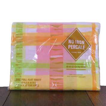 Vintage Bed Sheet 1970s Full Standard Flat Sheet Orange Yellow Lime Green Pink and White - Cotton Poly Blend - Made in USA - New Old Stock