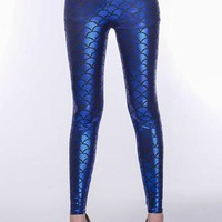 Metallic Fish Scale Fit Legging Stretch Long Pants for Valentine Trousers Lovers Gift Idea