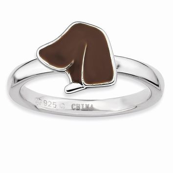 Sterling Silver Brown Enameled Dog Head Stackable Ring
