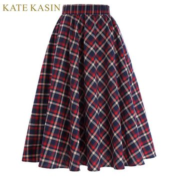 Women Red Plaid Skirt Grid Pattern Pleated Midi Skirts Femme Vintage A-Line Saias 2017 Summer Casual Skirt Kate Kasin