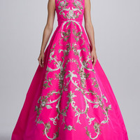 Baroque Embroidered Silk Gown, Shocking Pink