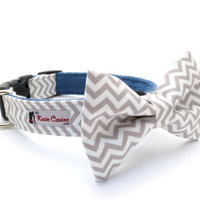 Chevron Dog Collar w/ Fleece or Cotton Lining (Gray Grey Dog Collar with Matching Bow Tie Available)