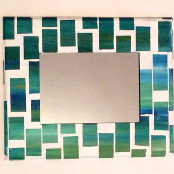 Teal and blue ombré mirror Hand Painted Small Mirror by MullaneInk