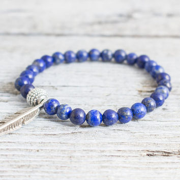 Blue lapis lazuli beaded stretchy bracelet with a feather, made to order yoga bracelet, mens bracelet, womens bracelet