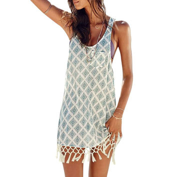 Boho Women Sleeveless Print Short Mini Dress Beach Summer Tassel Dresses