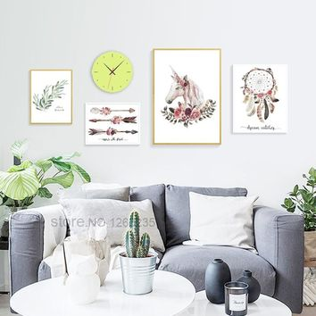 Unicorn Flower Nordic Poster Feather Dream Catcher Picture Wall Art Canvas Painting Spring Cuadros Decoracion Home Unframed