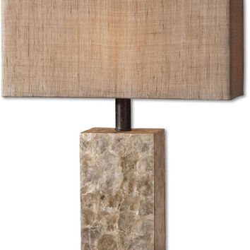 """0-008303>29""""h Rustic Pearl 1-Light Table Lamp Mother of Pearl"""