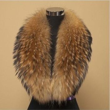 2014 Winter 100% Real Raccoon Fur Collar Natural Big Raccoon Collar Scarf Be 1411 Free Shipping