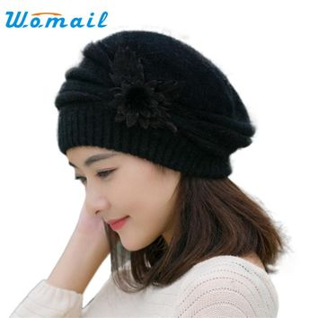 Hot Berets Hat Beanie Fashion Spring Autumn Winter Hat Warm Flower Knit Crochet Cute Casual Cap For Women's Girl Female WSep21
