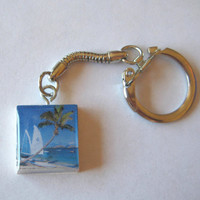Tropical Palm Tree Scrabble Tile Keychain