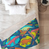 Chobopop 90s Dinosaur Pattern Fleece Throw Blanket