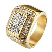 Hip Hop Wedding Engagement  Pinky Ring 14k Gold Finish Stainless Steel