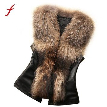 Female Winter vest Elegant waistcoat for Women Girls Faux Fur Vest Jacket Sleeveless Winter Body Warm Coat Waistcoat Gile