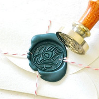 Peacock Feather Gold Plated Wax Seal Stamp x 1