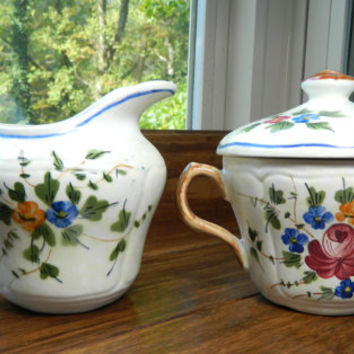 Vintage Hand Painted French China Sugar and Creamer Set by Longchamp in the Nemours Pattern