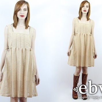 Vintage Hippie Dress Hippie Wedding Dress Vintage 70s Cream Lace Babydoll Dress