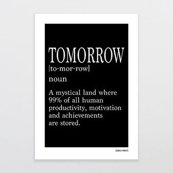 Tomorrow Definition Print - Definition Poster - Definition Print - Geek Wall Art - Home Decor, 8x10, 11x14, A3, A4 Print