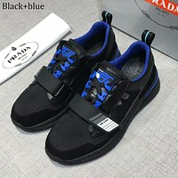 PRADA 2018 new men's outdoor sports shoes mesh breathable casual shoes Black+blue