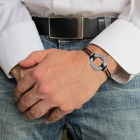 Personalized Washer Mens Leather Cuff / Custom Mens Bracelet / Gift For Him