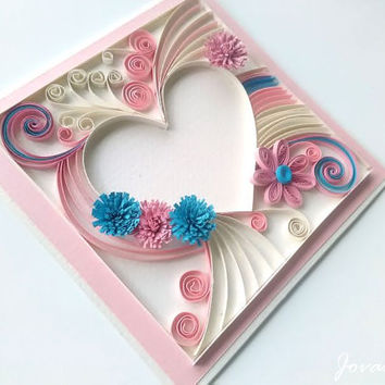 Unique greeting card, Heart, Quilling card, Birthday, Wedding, Love you card