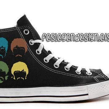 the beatles custom converse painted shoes