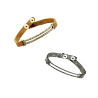 Pave and Leather Skinny Braclets