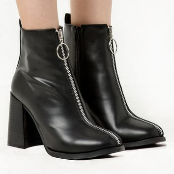 Ring Zipper Bocke Heel Ankle Boot -15% OFF