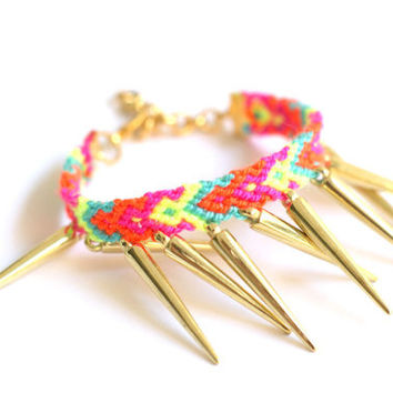 Gold Spikes Friendship Bracelet by makunaima on Etsy