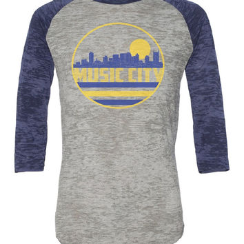 Nashville Music City Skyline Vintage Burnout Baseball Tee