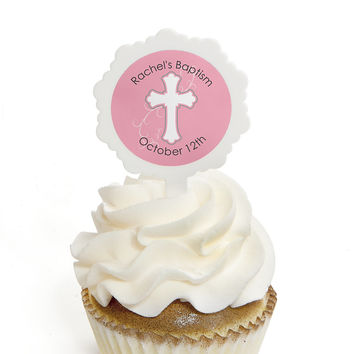 Little Miracle Girl Pink & Gray Cross - Personalized Baptism Cupcake Picks and Sticker Kit - 12 ct