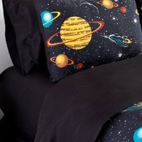 Veratex Bedding Collection Rocket Star Solid Sheet Set, Black, Queen Size