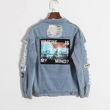 2017 Harajuku autumn winter Korea retro washing frayed embroidery letter patch jeans bomber jacket Light Blue Ripped Denim Coat