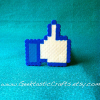 Facebook Like Button Pin: Perler Bead Pin