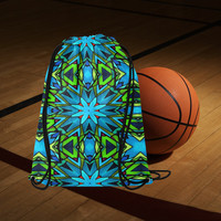 """Blue and Green Stained Glass Medium Drawstring Bag Model 1604 (Twin Sides) 13.8""""(W) * 18.1""""(H) 