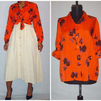 Vintage 1970s Orange Blouse Floral Design