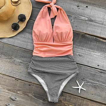 Two Toned Wrap Swimsuit